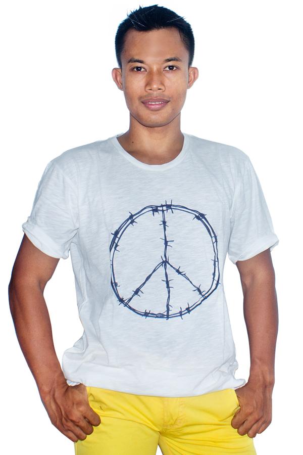 Spesifikasi T W Men T Shirt Peace Putih Paling Bagus