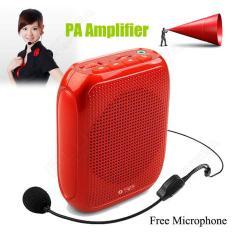 Review Terbaik T600 Portable Suara Pa Amplifier Booster Headset Mic Loud Speaker Pinggang A01 Merah Intl