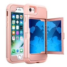 TabPow iPhone 7 Case, Hidden Door Slim Wallet Case, Fits 2 Cards and Cash, Reinforced Drop Bumper Protection, Open Mirror, Front Frame Screen Protection For iPhone 7 / iPhone 8 (4.7inch) - Rose Gold - intl