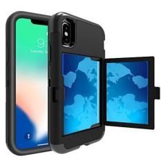 TabPow IPhone X Case, Pintu Tersembunyi Slim Wallet Case, Cocok 2 Kartu dan Uang Tunai, Diperkuat DROP Bumper Protection, Membuka Cermin, Bingkai Depan Screen Protection untuk IPhone X-Hitam-Intl
