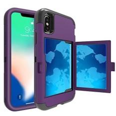 TabPow IPhone X Case, Pintu Tersembunyi Slim Wallet Case, Cocok 2 Kartu dan Uang Tunai, Diperkuat DROP Bumper Protection, Membuka Cermin, Bingkai Depan Screen Protection untuk IPhone X-Ungu-Intl