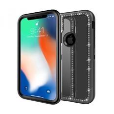 TabPow IPhone X Case, Hybrid Secure Grip Drop Perlindungan, BLING Berlian Imitasi, Cermin Reflektif, Layar Bibir Yang Ditingkatkan Frame Protection untuk Apple IPhone X (2017)-Hitam-Intl