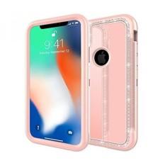 TabPow IPhone X Case, Hybrid Secure Grip Drop Perlindungan, BLING Berlian Imitasi, Cermin Reflektif, Layar Bibir Yang Ditingkatkan Frame Protection untuk Apple IPhone X (2017)-Rose Gold-Intl