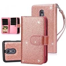TabPow LG Stylo 3 Case, 10 Kartu Slot-ID Slot, Tombol Dompet Folio PU Kulit Case Cover dengan Detachable Magnetic Hard Case untuk LG Stylo 3/LG Stylo 3 Plus-Mawar Emas-Internasional
