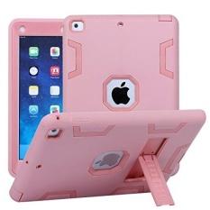 TabPow Baru IPad 9.7 Inch 2017 Case, Shockproof, Drop Perlindungan, Three-Layer Full-Body Rugged Hybrid Pelindung Anak Dewasa Case dengan Kickstand untuk Apple IPad 9.7 (2017 Rilis MARET) -Rose Pink-Intl