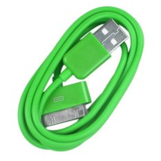 Taff Normal Round Charging SYNC Data 30pin for iPhone 4 Cable 1m - Hijau