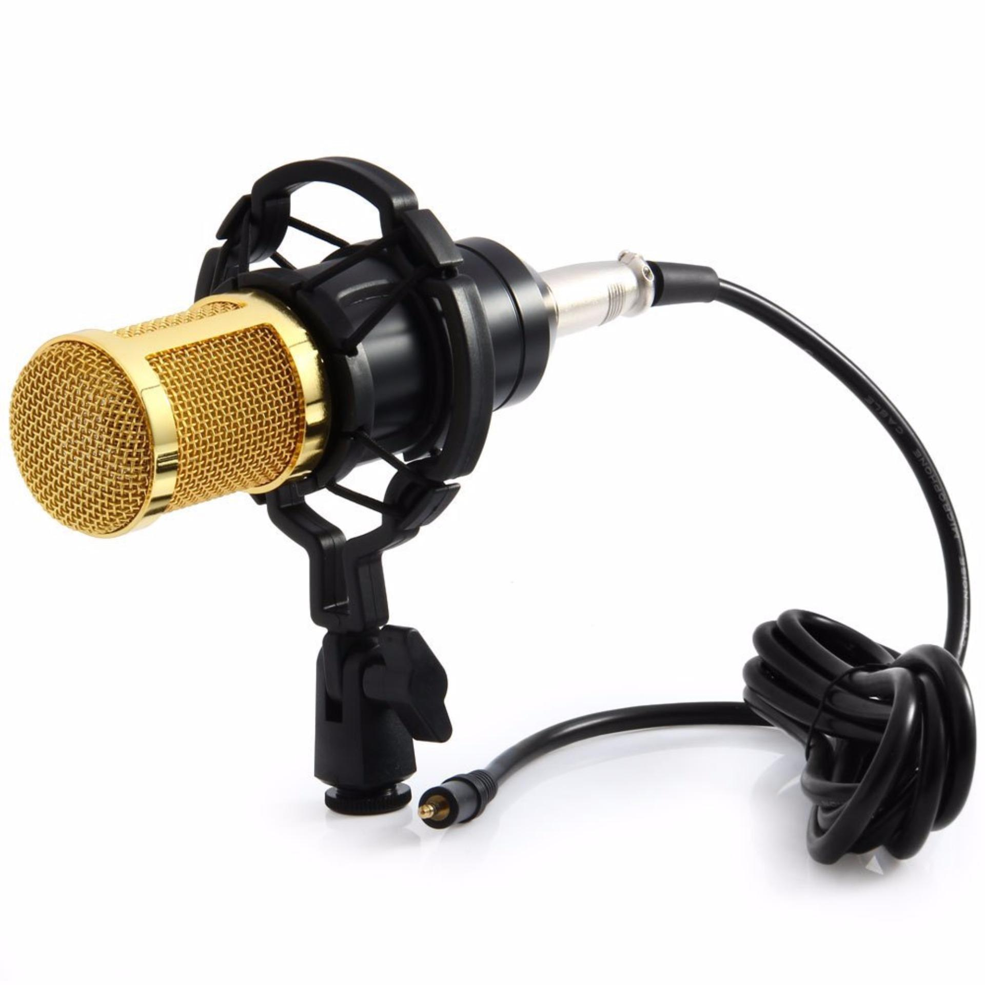 Taffware Mikrofon Kondenser Studio Dengan Shock Proof Mount Bm800 Black Original
