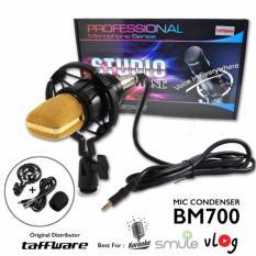 Taffware Mikrofon Kondenser Studio dengan Shock Proof Mount Mic BM700 - Hitam