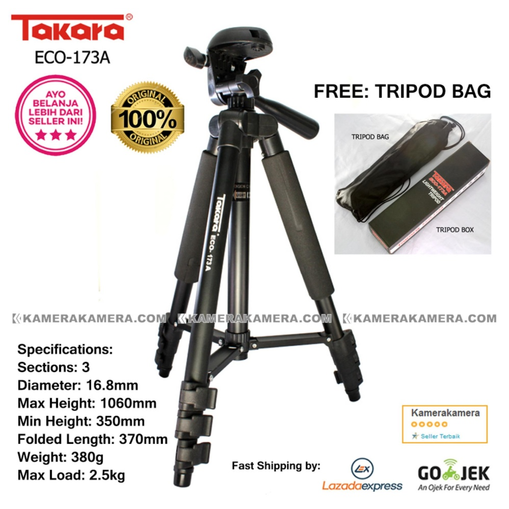 TAKARA ECO-173A - Professional Tripod 173A Black with Tripod Bag for Mirrorless Pocket Action Camera - GoPro Brica Xiaomi Canon Nikon Sony FujiFilm Panasonic