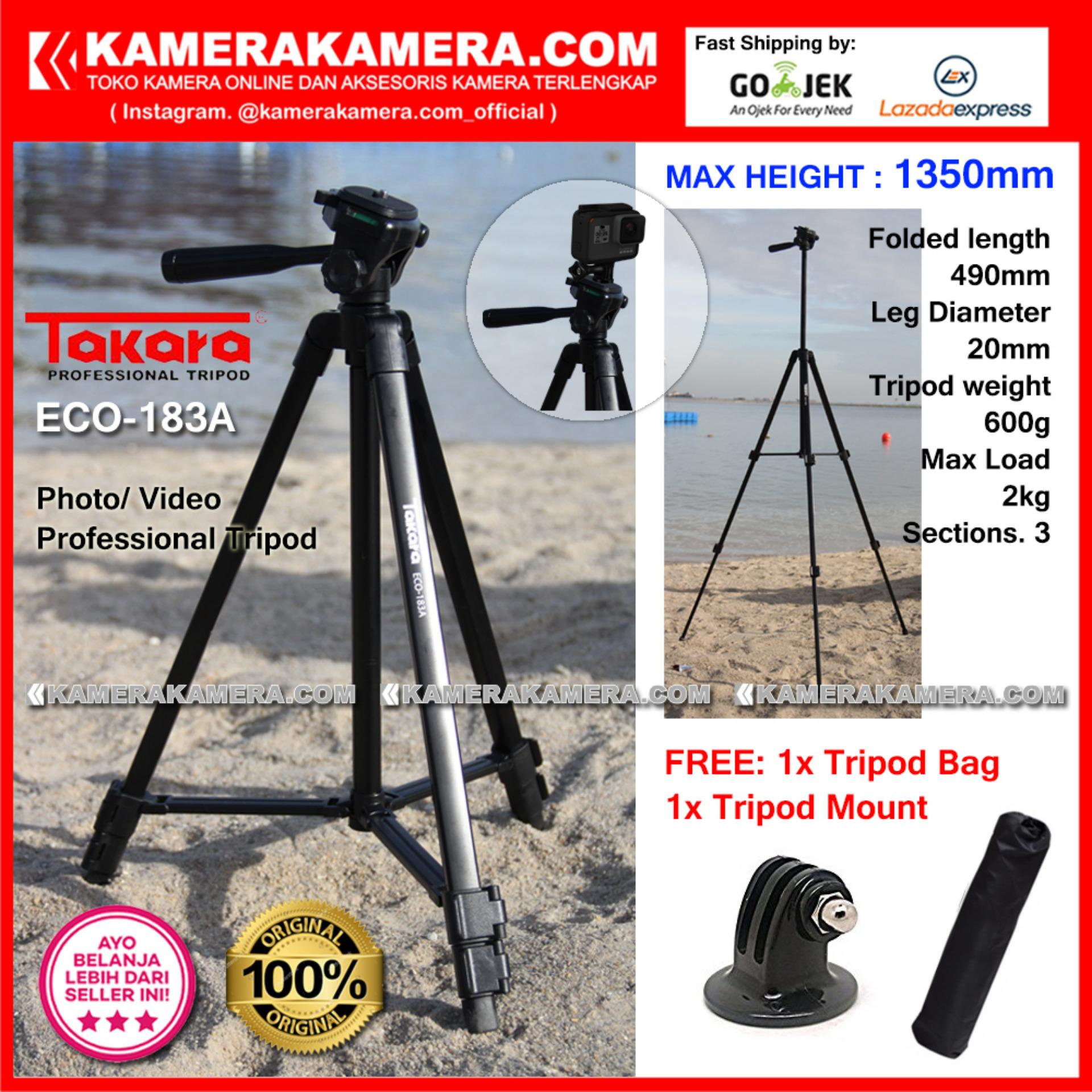 TAKARA ECO-183A Photo / Video Professional Tripod ECO 183A - Max Height 1350mm Free Tripod Bag + Tripod Mount for DSLR Mirrorless Camera Canon Nikon Sony Fujifilm Panasonic and Action Camera GoPro Brica Xiaomi Yi Kogan and SmartPhone iPhone Samsung