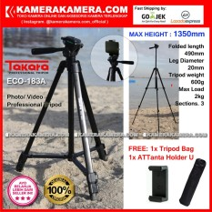 TAKARA ECO-183A Photo / Video Professional Tripod ECO 183A - Max Height 1350mm Free Tripod Bag + ATTanta Holder U for DSLR Mirrorless Camera Canon Nikon Sony Fujifilm Panasonic and Action Camera GoPro Brica Xiaomi Yi Kogan and SmartPhone iPhone Samsung