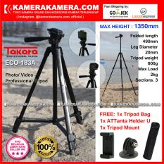 TAKARA ECO-183A Photo / Video Professional Tripod ECO 183A - Max Height 1350mm Free Tripod Bag + ATTanta Holder U + Tripod Mount for DSLR Mirrorless Camera Canon Nikon Sony and Action Camera GoPro Brica Xiaomi Yi Kogan and SmartPhone iPhone Samsung