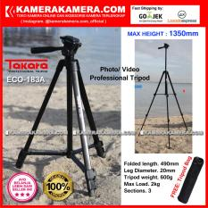 TAKARA ECO-183A Photo / Video Professional Tripod ECO 183A - Max Height 1350mm Free Tripod Bag for DSLR Mirrorless Camera Canon Nikon Sony Fujifilm Panasonic and Action Camera GoPro Brica Xiaomi Yi Kogan and SmartPhone iPhone Samsung
