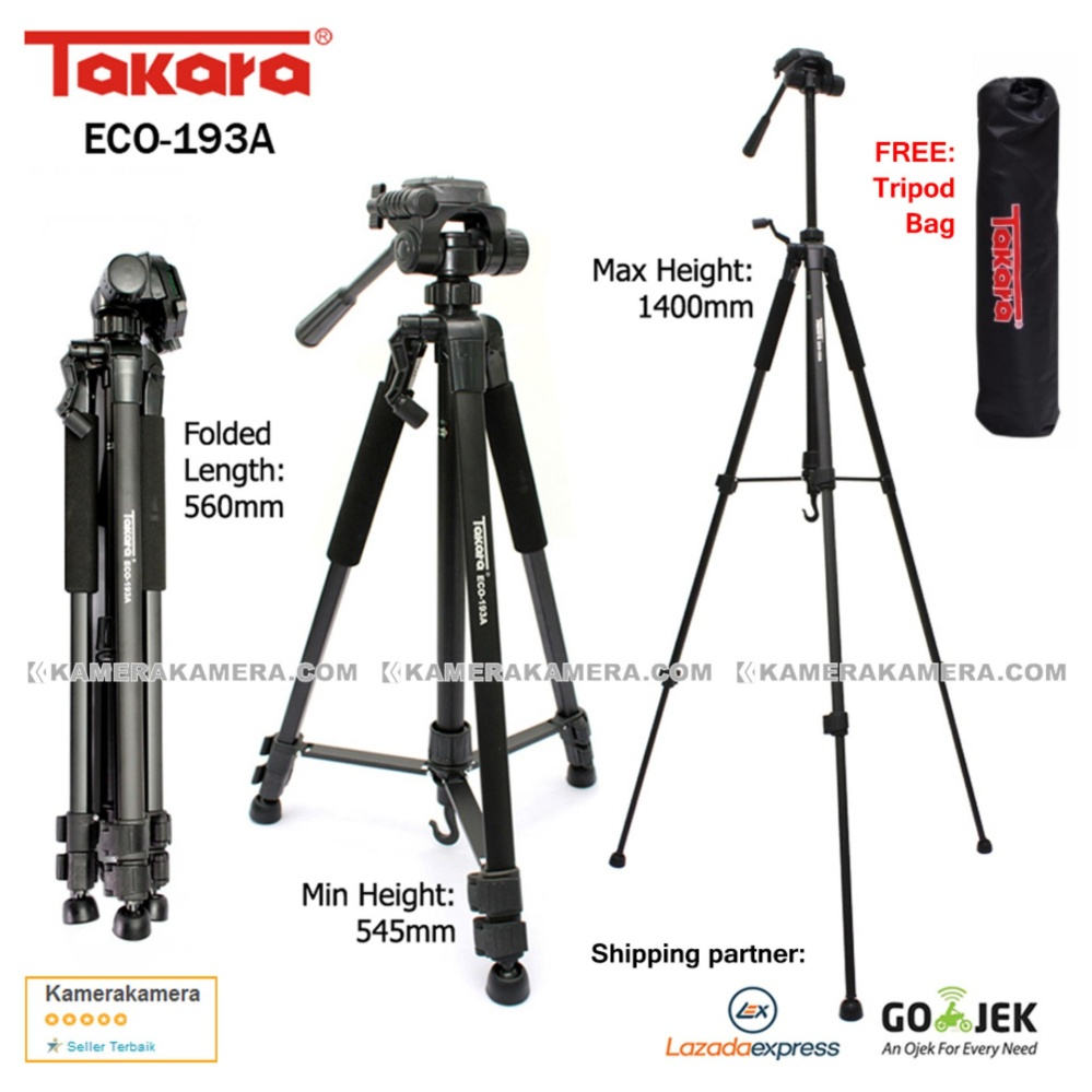 TAKARA ECO 193A Lightweight Tripod 193A for DSLR Mirrorless Canon Nikon Sony Fujifilm and Action Camera GoPro Xiaomi Yi Brica