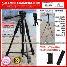 TAKARA ECO-196A Photo / Video Professional Tripod ECO 196A - Max Height 1450mm Free Tripod Bag + ATTanta Holder U for DSLR Mirrorless Camera Canon Nikon Sony Fujifilm Panasonic and Action Camera GoPro Brica Xiaomi Yi Kogan and SmartPhone iPhone Samsung
