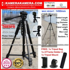 TAKARA ECO-196A Photo / Video Professional Tripod ECO 196A - Max Height 1450mm Free Tripod Bag + ATTanta Holder U + Tripod Mount for DSLR Mirrorless Camera Canon Nikon Sony Fujifilm and Action Camera GoPro Brica Xiaomi Yi and SmartPhone iPhone Samsung