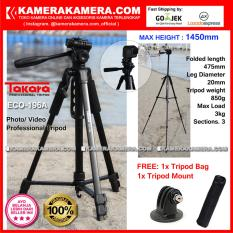TAKARA ECO-196A Photo / Video Professional Tripod ECO 196A - Max Height 1450mm Free Tripod Bag + Tripod Mount for DSLR Mirrorless Camera Canon Nikon Sony Fujifilm Panasonic and Action Camera GoPro Brica Xiaomi Yi Kogan and SmartPhone iPhone Samsung