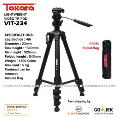 Takara Lightweight Video Tripod VIT-234 with Tripod bag for DSLR Mirrorless Canon Nikon Sony Fujifilm Panasonic and Action Camera GoPro Brica Xiaomi