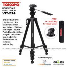 Takara Lightweight Video Tripod VIT-234 with Tripod bag + Tripod Mount for DSLR Mirrorless Canon Nikon Sony Fujifilm Panasonic and Action Camera GoPro Brica Xiaomi