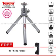 TAKARA M-1031 Silver Mini Tripod + Phone Holder U for SmartPhone , Pocket Camera Canon Nikon , Action Camera Brica Xiaomi GoPro