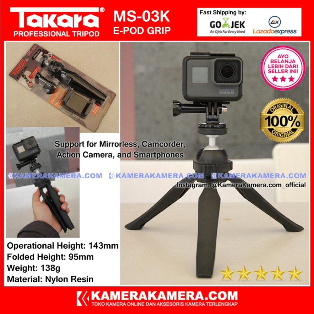TAKARA MS-03K e-Pod Grip Original with Mount Adaptor + Phone Holder for GoPro Hero Brica Xiaomi Yi, and SmartPhone IPhone 7 Samsung Oppo