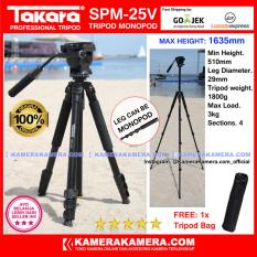 TAKARA SPM-25V Photo / Video Professional Tripod Monopod SPM 25V - Max Height 1635mm Free Tripod Bag for DSLR Mirrorless Camera Canon Nikon Sony Fujifilm Panasonic and Action Camera GoPro Brica Xiaomi Yi Kogan and SmartPhone iPhone Samsung