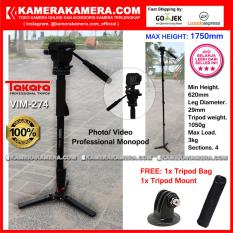 TAKARA VIM-274 Photo / Video Professional Monopod VIM 274 Max Height 1750mm Free Bag + Tripod Mount for DSLR Mirrorless Camera Canon Nikon Sony Fujifilm Panasonic and Action Camera GoPro Brica Xiaomi Yi Kogan and SmartPhone iPhone Samsung