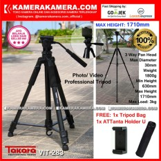 TAKARA VIT-283 Photo / Video Professional Tripod VIT 283 Max Height 1710mm Free Tripod Bag + ATTanta Holder U for DSLR Mirrorless Camera Canon Nikon Sony Fujifilm Panasonic and Action Camera GoPro Brica Xiaomi Yi Kogan and SmartPhone iPhone Samsung