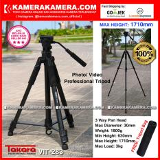 TAKARA VIT-283 Photo / Video Professional Tripod VIT 283 Max Height 1710mm Free Tripod Bag for DSLR Mirrorless Camera Canon Nikon Sony Fujifilm Panasonic and Action Camera GoPro Brica Xiaomi Yi Kogan and SmartPhone iPhone Samsung