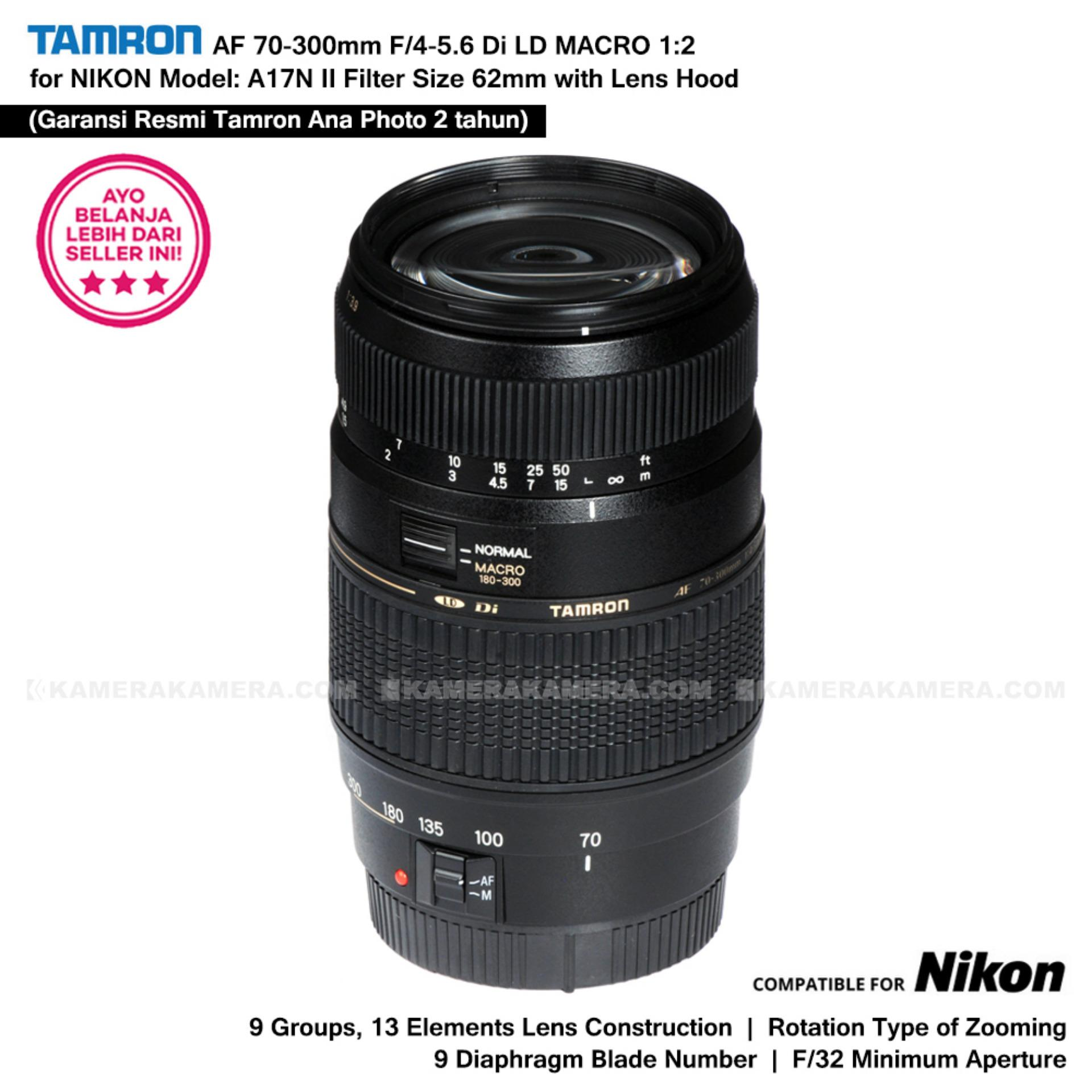 TAMRON AF 70-300mm F/4-5.6 Di LD MACRO 1:2 Model: A17N II Built In Motor for NIKON D with Lens Hood (Garansi Resmi Tamron - Ana Photo 2 tahun)
