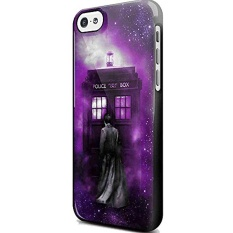 Tardis Tenth Doctor Dr Who in Space Purple for Iphone and Samsung Galaxy Case (iPhone 5C black) - intl