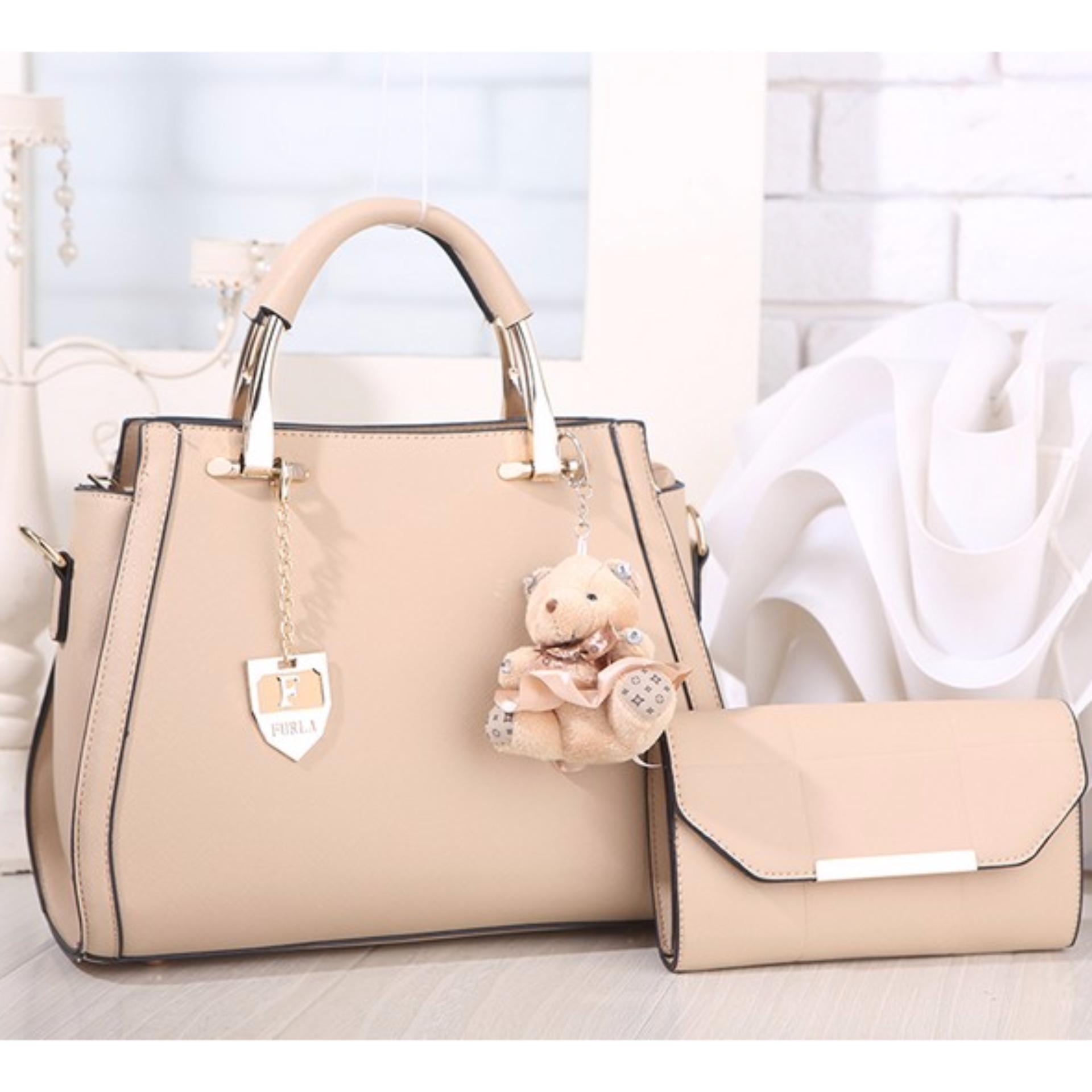 Women Bags Tas Branded Wanita  Tangan Ck 00773 Korean High Style With Wallet Eksklusif Khakhi