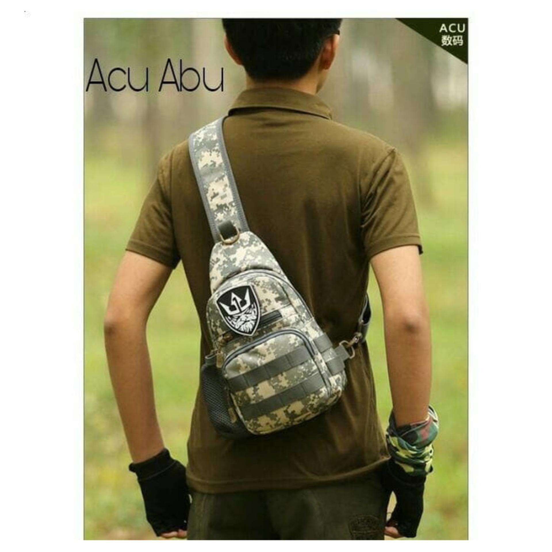 Tas Selempang Import Impor Cowok Pria Army Tactical Sling Waist Messenger Shoulder Bag