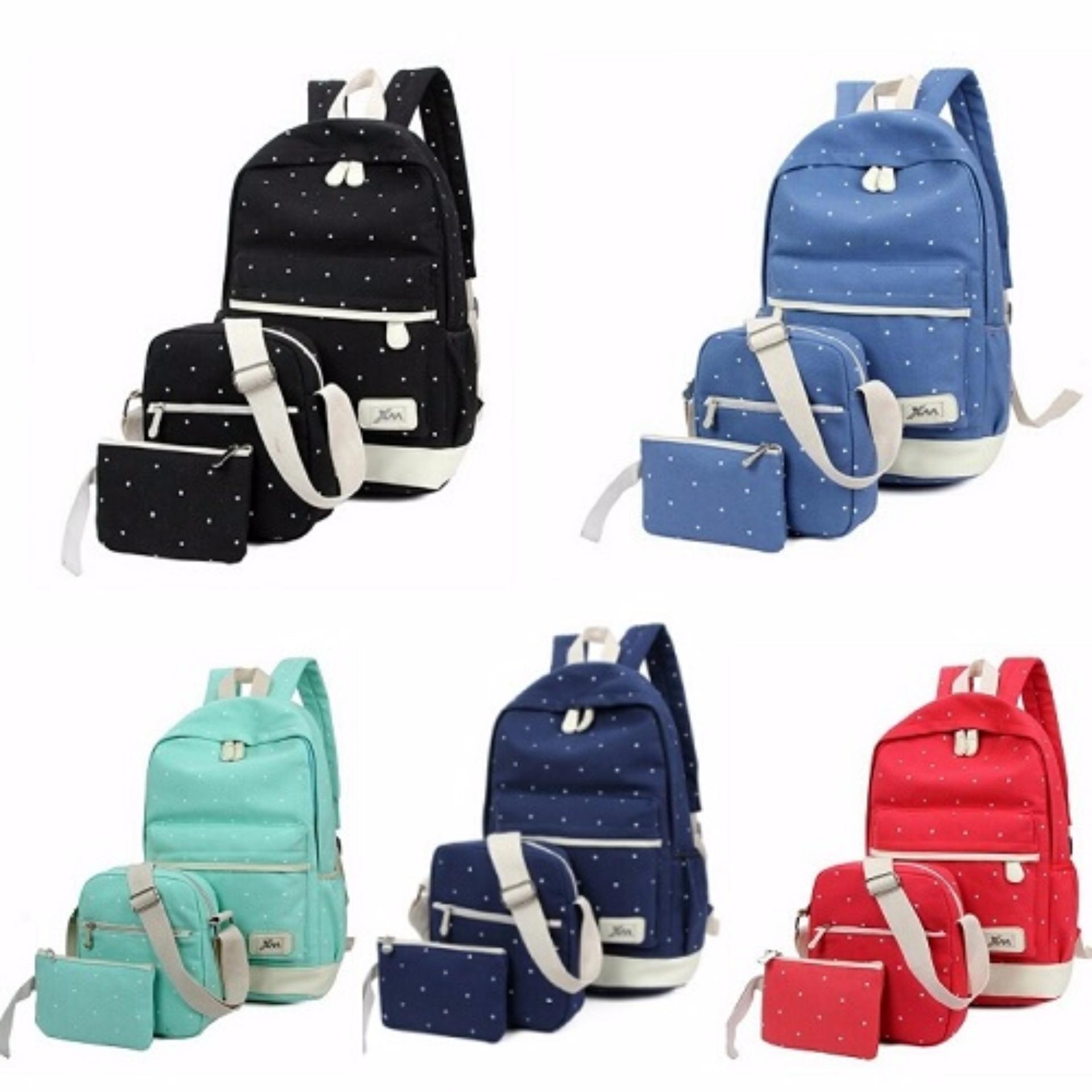 Spesifikasi Tas Ransel Dompet Selempang Pouch Set 3 In 1 Backpack Fashion Yang Bagus Dan Murah