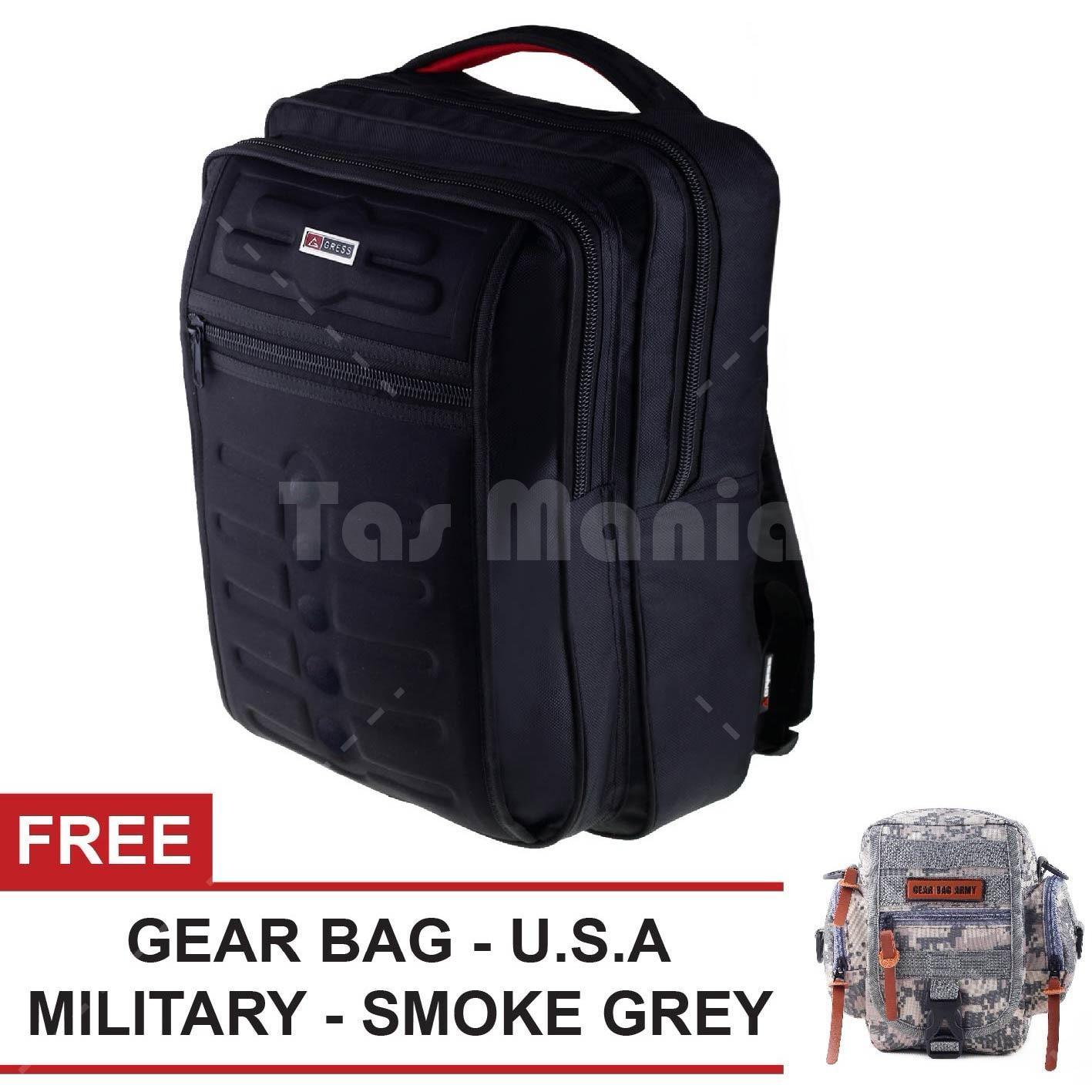 Tas Ransel Gress Emboss Tas Laptop Backpack - Hitam + FREE Tas Selempang U.S.A Military - Smoke Grey Tas Pria Tas Kerja Tas Messenger Tas Slempang Tas Fashion Pria