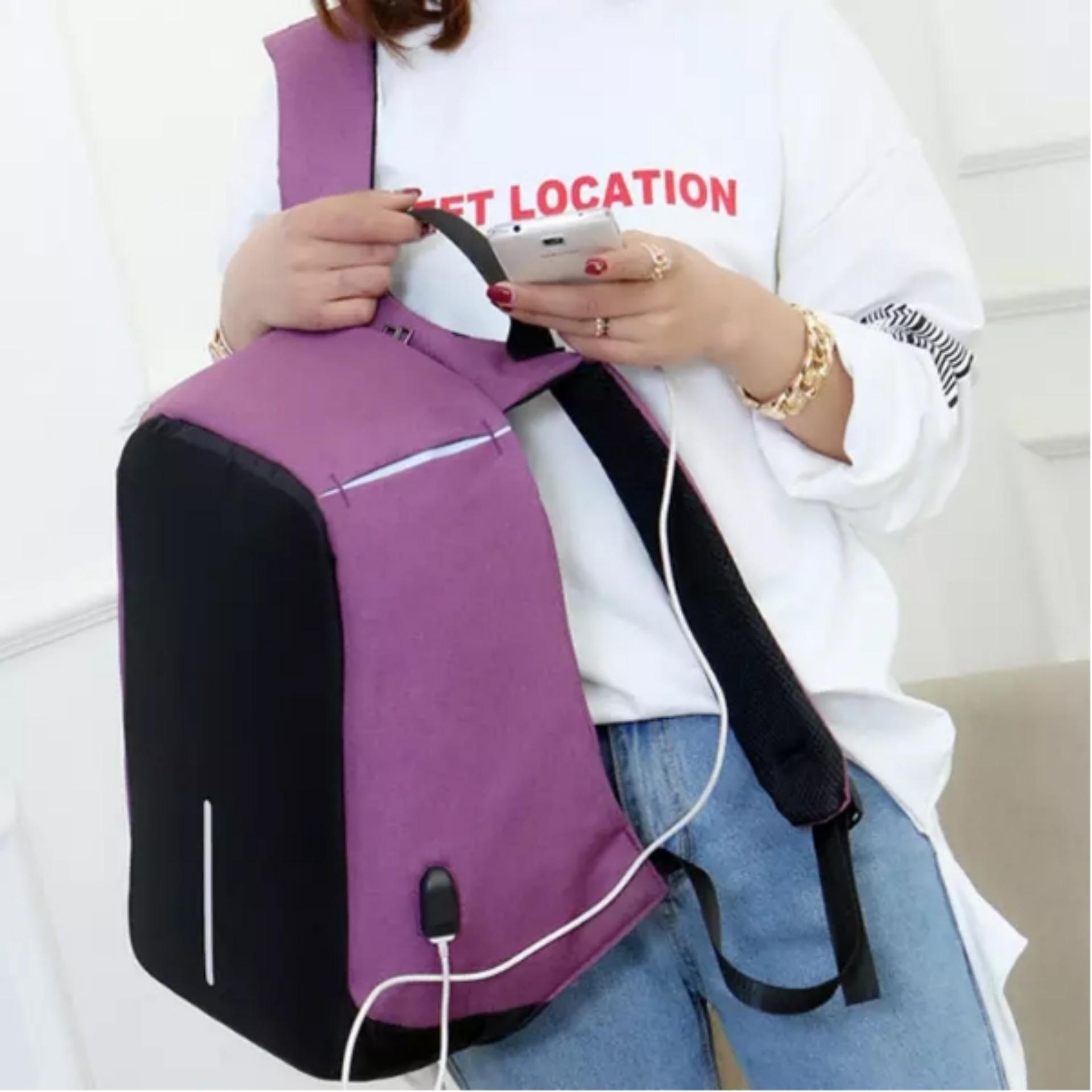 Harga Jual Tas Ransel Unisex Casual Anti Maling Dengan Charger Usb Uneed Capsule Smart Backpack Ub104 Black
