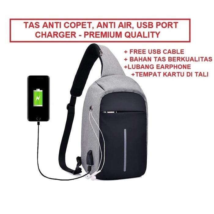 Jual Tas Selempang Anti Maling Premium Usb Port Charger Tas Selempang Branded
