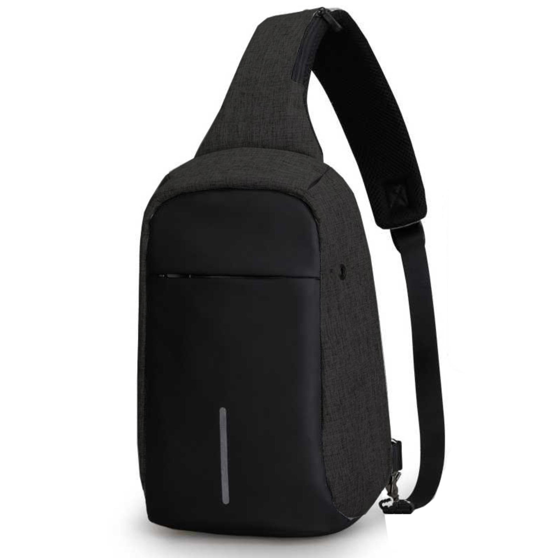 Tas Slempang Anti Maling Non USB With Port Earphone Waterproof - Hitam