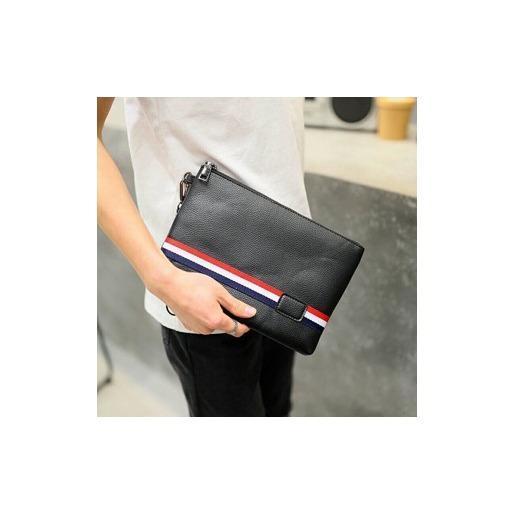 Harga Tas Tangan Pria Hand Bag Clutch Korea Impor Kulit Stripe Handbag Clutch Kulit Dompet Gogo 5203 Asli