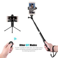 Teleskopis Selfie Stick dengan Mini Tabletop Tripod pemegang telepon Remote Controller untuk GoPro hero 5/4/3 / 3 camera untuk Ricoh theta S, M15 kamera kompak dan 60-100mm lebar smartphone Outdoorfree ^-intl