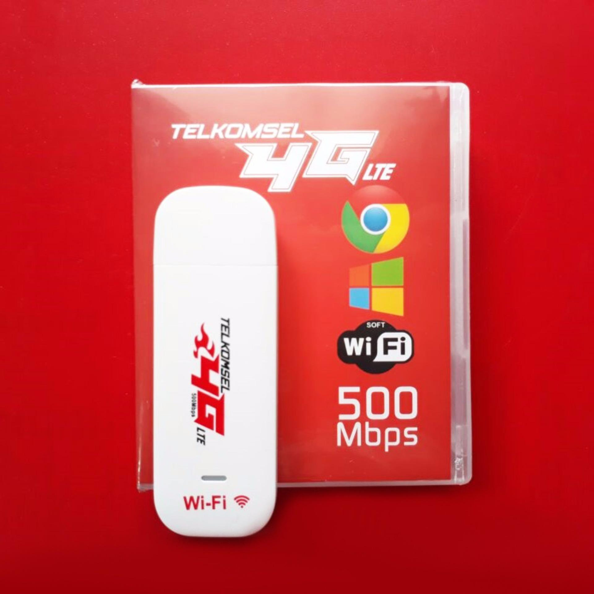 Telkomsel Flash USB Modem 4G LTE 500 Mbps Wifi Hotspot, Unlock All GSM, Auto APN, MicroSD Card Slot