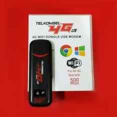 Telkomsel Flash Wifi Dongle USB Modem 4G LTE 500 Mbps Wifi Hotspot, Unlock All GSM, Auto APN, MicroSD Card Slot