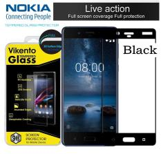 Tempered Glass Color Full Cover Screen Protector Film Guard For Nokia 6 - Black