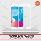 Tempered Glass Warna Full Cover Screen Protector Anti Gores For Vivo V5 V5S Y67 White Diskon Akhir Tahun