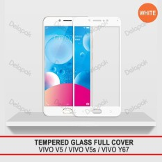 Harga Hemat Tempered Glass Warna Full Cover Screen Protector Anti Gores For Vivo V5 V5S Y67 White