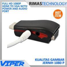 Viper Full Hd 1080p Hdmi To Vga With Power And Audio Port - Black Hitam - Aksesoris Komputer Perangkat kabel cable Adaptor Adapter Convert Konverter High Definition berkualitas