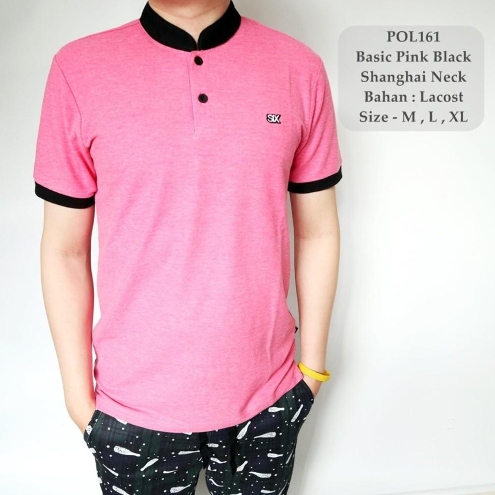 Spesifikasi Tgf Kaos Berkerah Polo Cowok Basic Pink Black Shanghai Neck Distro 161 Lokal Brand