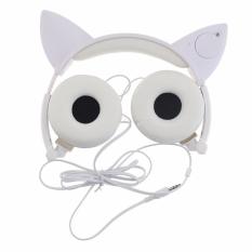 Kualitas terbaik TTLIFE Fashion ROPS berkedap-kedip Berpijar kucing telinga Headphone Headset Headphone dengan permainan cahaya LED untuk PC komputer Laptop ponsel (putih)