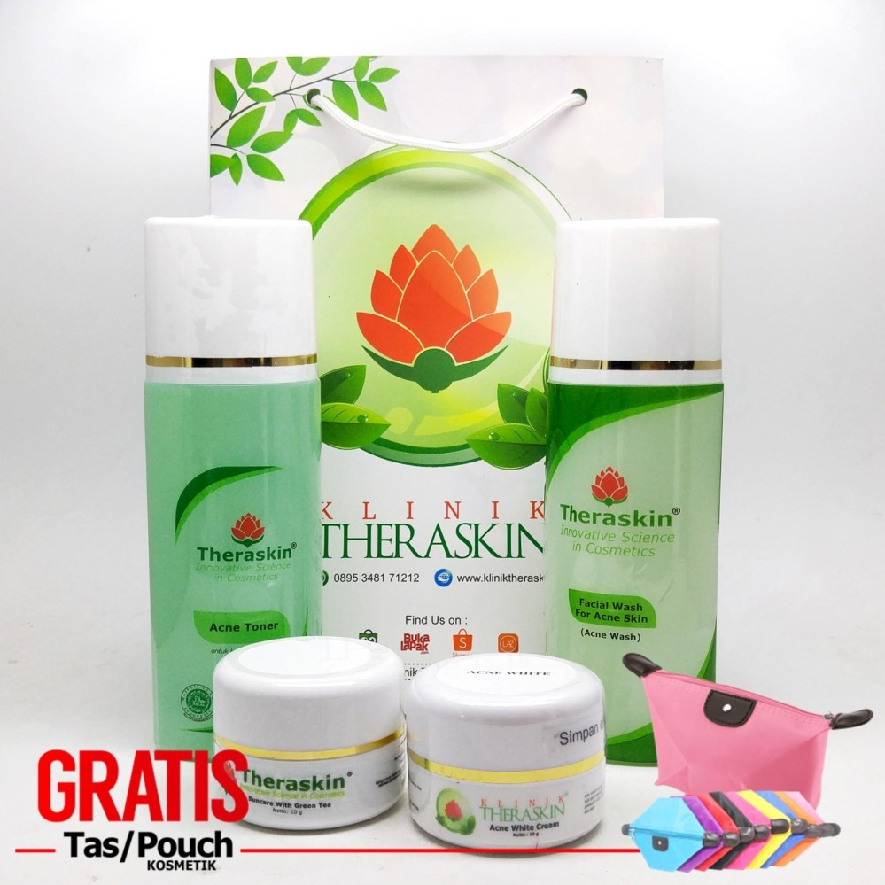 Review Theraskin Acne White For Oily Paket Cream Theraskin Jerawat Memutihkan Untuk Kulit Berminyak Kt 006 Gratis Pouch Theraskin