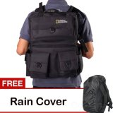 Harga Termurah Third Party Tas Kamera Backpack Natgeo Bahan D300 Hitam Gratis Rain Cover